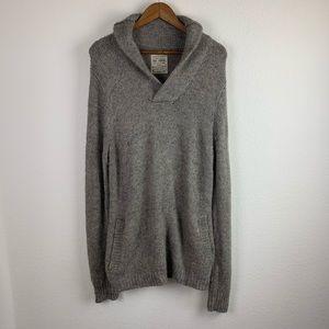 All Saints Spitafield   Gray Acrylic Shawl Sweater